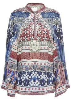 Camilla Woman Overnight Bag Crystal-embellished Printed Silk-jacquard Blouse Storm Blue