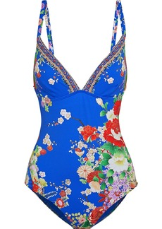 Camilla Woman Playing Koi Crystal-embellished Floral-print Swimsuit Bright Blue