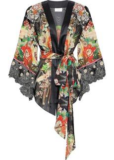 Camilla Woman Queen King Embroidered Point D'esprit-paneled Silk-chiffon Kimono Multicolor