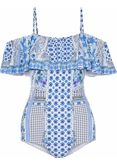 Camilla Woman Salvador Summer Cold-shoulder Embellished Printed Swimsuit Blue
