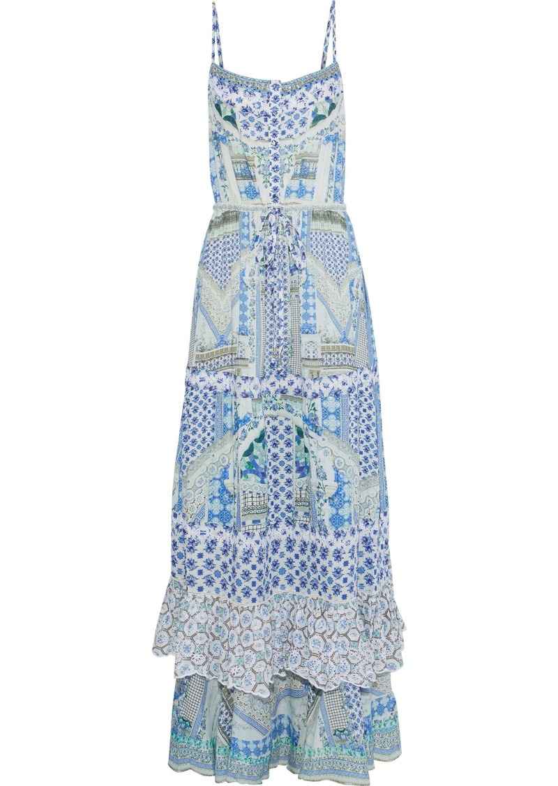 Camilla Woman Salvador Summer Embellished Ruffled Printed Voile Maxi Dress Blue