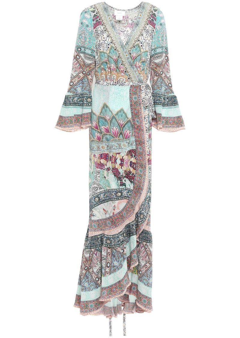 Camilla Woman Sister Of The Marigold Silk Maxi Wrap Dress Sky Blue