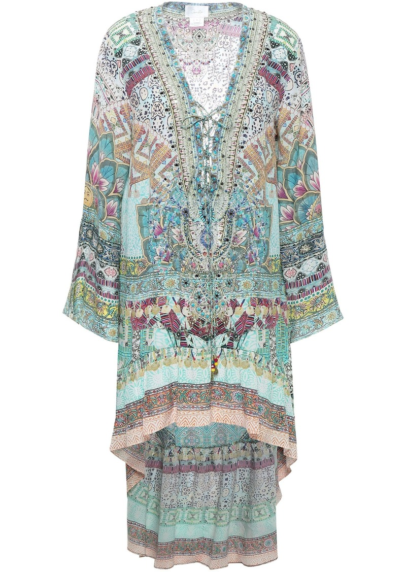 Camilla Woman Sisters Of The Marigold Lace-up Silk Mini Dress Multicolor