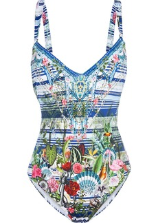 Camilla Woman Solishea Crystal-embellished Printed Swimsuit Multicolor
