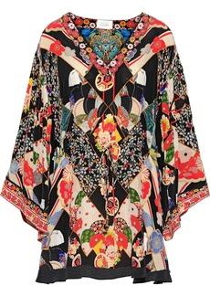 Camilla Woman Crystal-embellished Printed Silk Crepe De Chine Mini Dress Multicolor