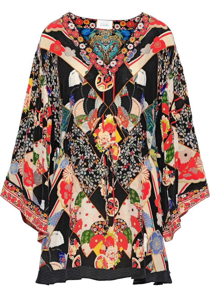 Camilla Woman Crystal-embellished Printed Silk Crepe De Chine Mini Dress Multicolor