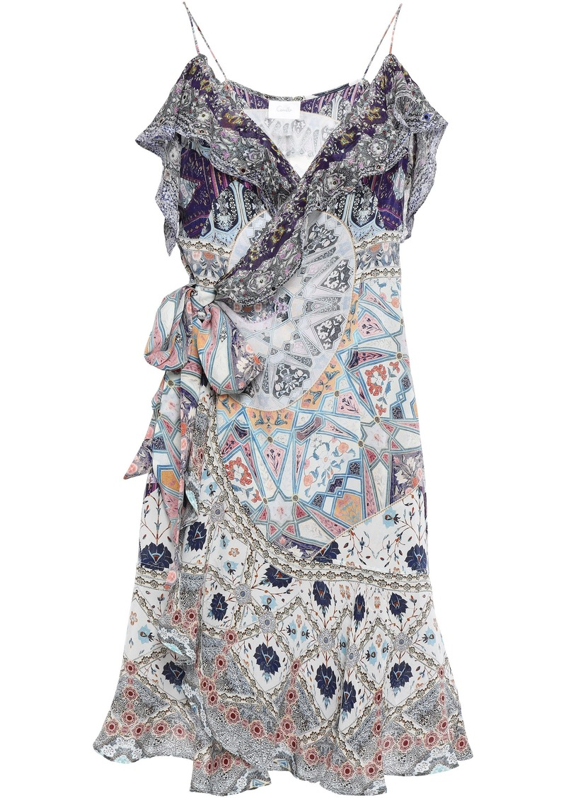 Camilla Woman Tales Of Tatiana Crystal-embellished Silk Crepe De Chine Mini Wrap Dress Multicolor