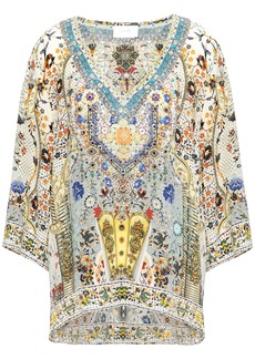 Camilla Woman Indiana Franks Crystal-embellished Printed Silk Crepe De Chine Top Off-white