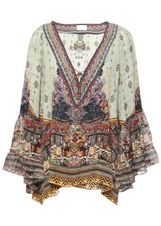 Camilla Woman The Caravan Printed Silk Crepe De Chine And Chiffon Blouse Multicolor