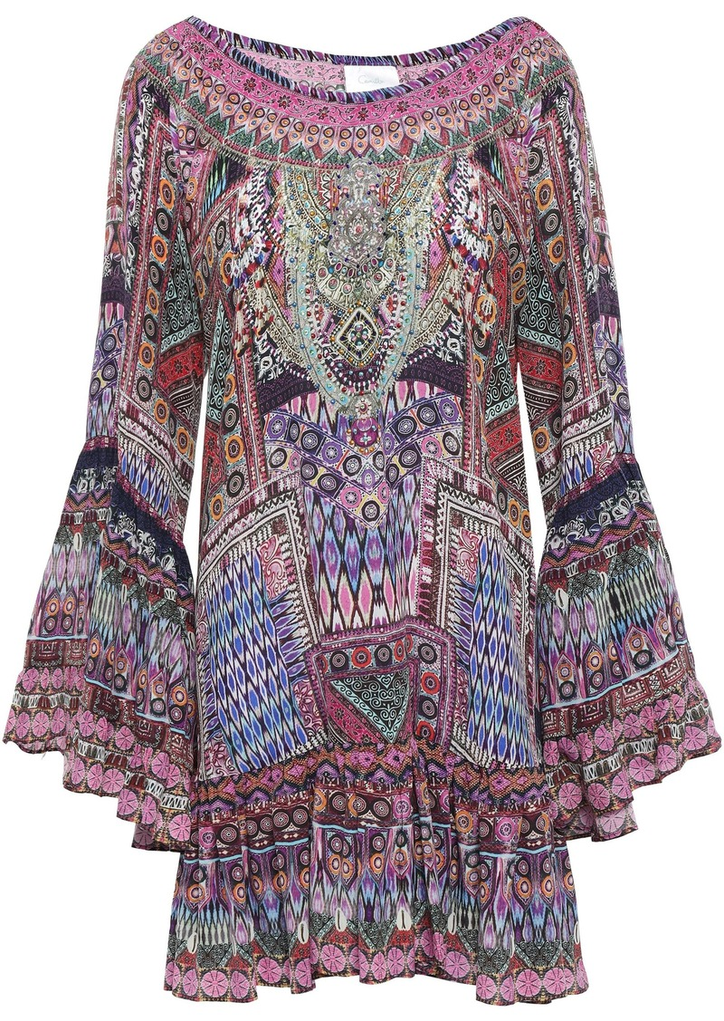 Camilla Woman The Jaipur Four Off-the-shoulder Embellished Silk Crepe De Chine Mini Dress Pink