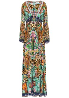 Camilla Woman The Jungle Book Crystal-embellished Printed Silk Crepe De Chine Maxi Dress Animal Print
