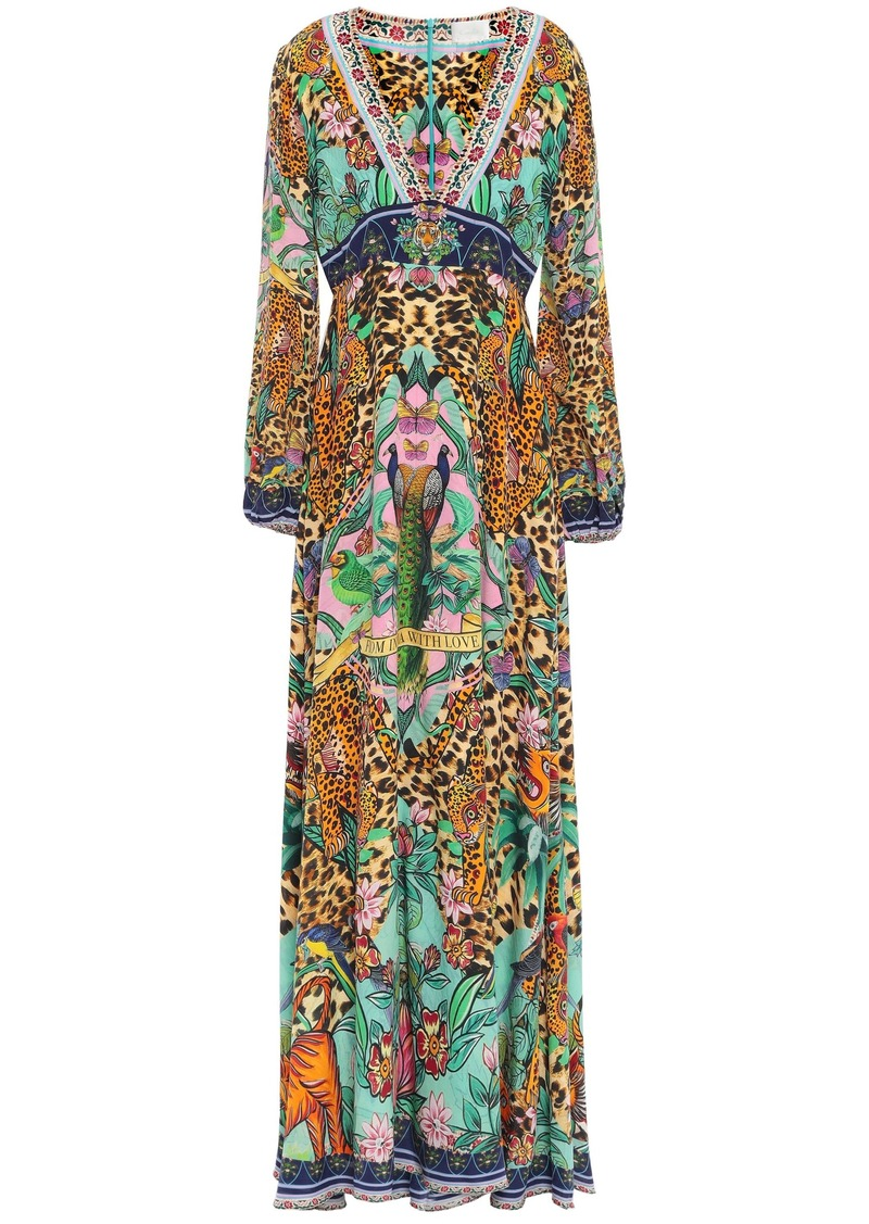Camilla Woman The Jungle Book Crystal-embellished Printed Silk Crepe De Chine Maxi Dress Animal Print