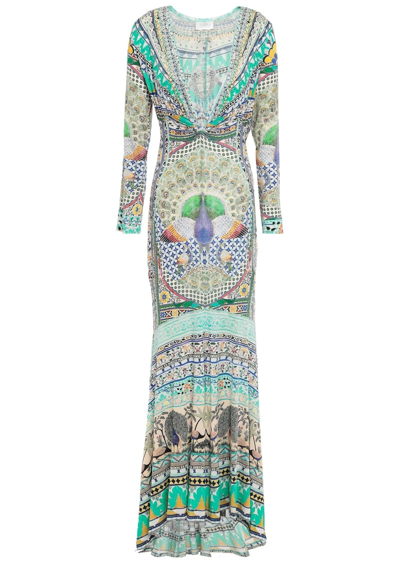 Camilla Woman The King And I Crystal-embellished Printed Stretch-jersey Maxi Dress Jade