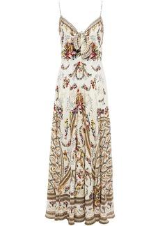 Camilla Woman Tie-front Printed Silk Crepe De Chine Maxi Dress Cream