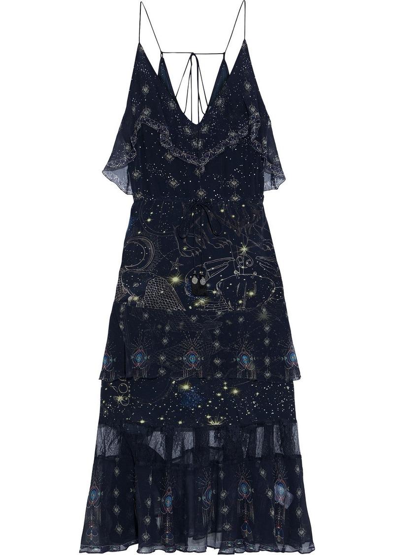 Camilla Woman Tiered Georgette-paneled Embellished Printed Silk Crepe De Chine Midi Slip Dress Midnight Blue