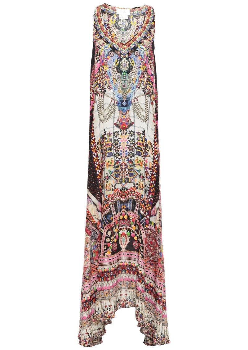 Camilla Woman Tiny Dancer Crystal-embellished Printed Silk Crepe De Chine Maxi Dress Multicolor