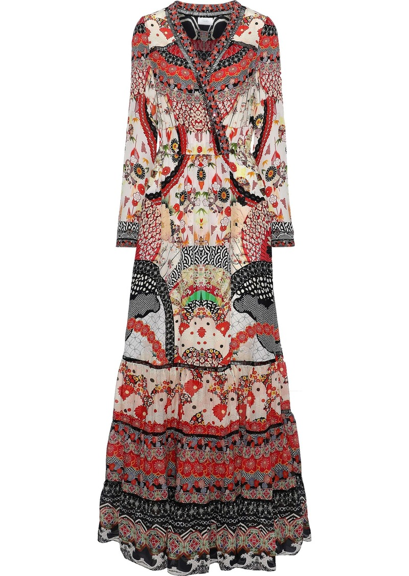 Camilla Woman Vintage Vixen Crystal-embellished Printed Silk Maxi Wrap Dress Multicolor