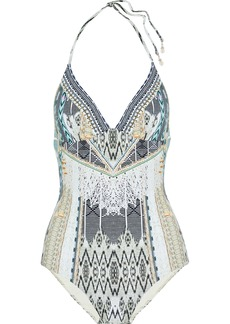Camilla Woman Weave On Crystal-embellished Printed Halterneck Swimsuit Multicolor