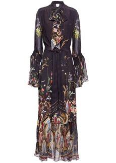 Camilla Woman Wild Flower Pussy-bow Printed Silk Crepe De Chine Maxi Dress Dark Purple