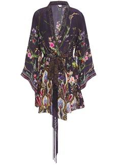 Camilla Woman Wildflower Printed Silk Crepe De Chine Mini Wrap Dress Dark Purple