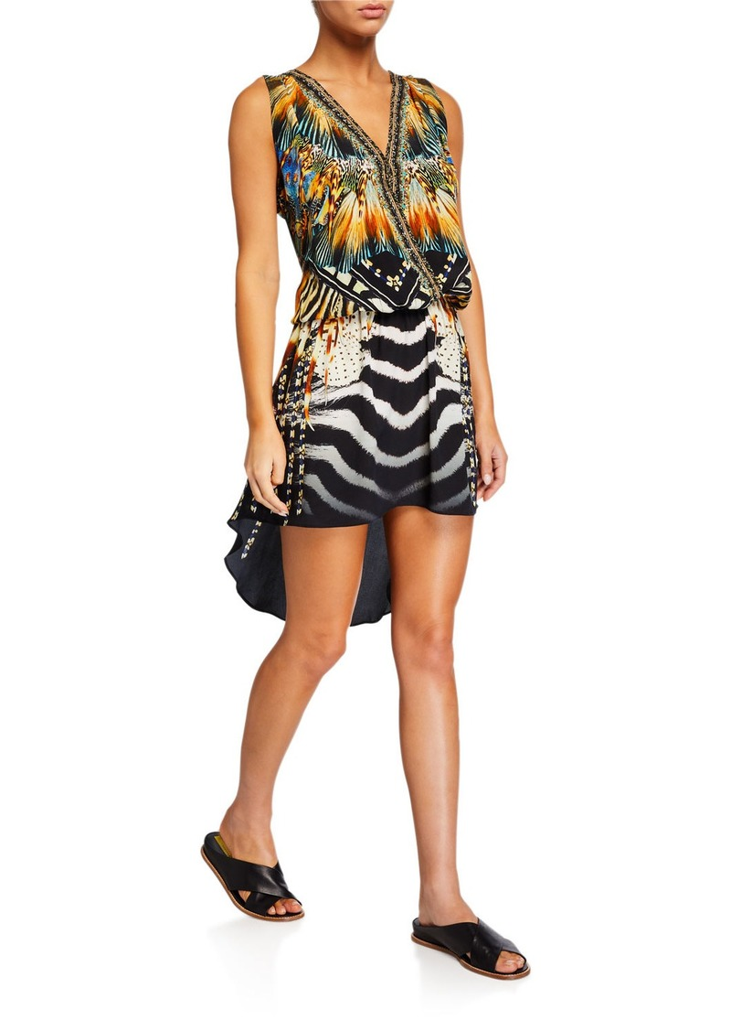 Camilla Crossover Sleeveless Dress with Long Back