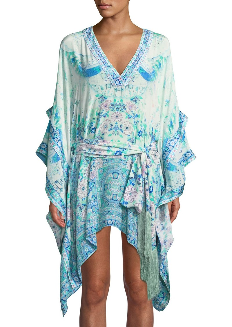 52ce56b93c3 Camilla Double-Layer Printed Silk Kimono-Sleeve Dress