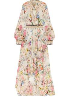 Camilla Embellished Floral-print Silk-crepon Wrap Maxi Dress