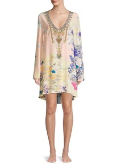 Camilla Embellished Floral Silk V-Neck Dress