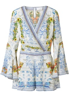 Camilla Embellished printed silk crepe de chine playsuit