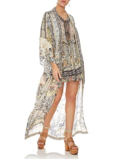Camilla Embellished Silk Long Kimono Coat Coverup