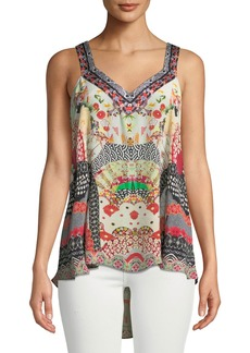 Camilla Embellished Silk Printed V-Neck Top