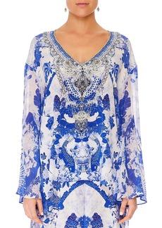 Camilla Embellished Silk V-Neck A-Line Blouse