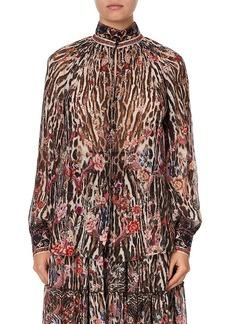 Camilla Floral Leopard Silk Blouse