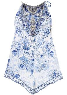 Camilla floral-print sleeveless silk blouse
