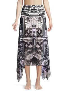 Camilla Graphic Floral & Stripe Column Silk Handkerchief Sarong
