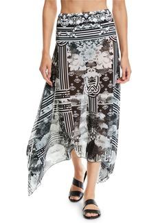 Camilla Handkerchief Floral-Printed Mesh Sarong Coverup