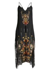 Camilla La Fleur Libertine Embellished Lace Silk Midi Slip Dress