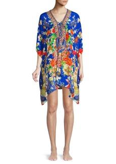 Camilla Lace-Up Silk Caftan