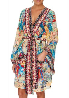 Camilla Miso in Love Silk Kimono Coverup with Tie Belt