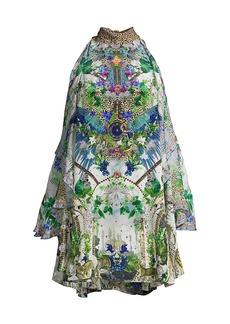 Camilla Moon Garden Neck-Tie Cold-Shoulder Dress