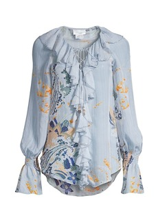 Camilla Mother Lace-Up Floral Silk Blouse