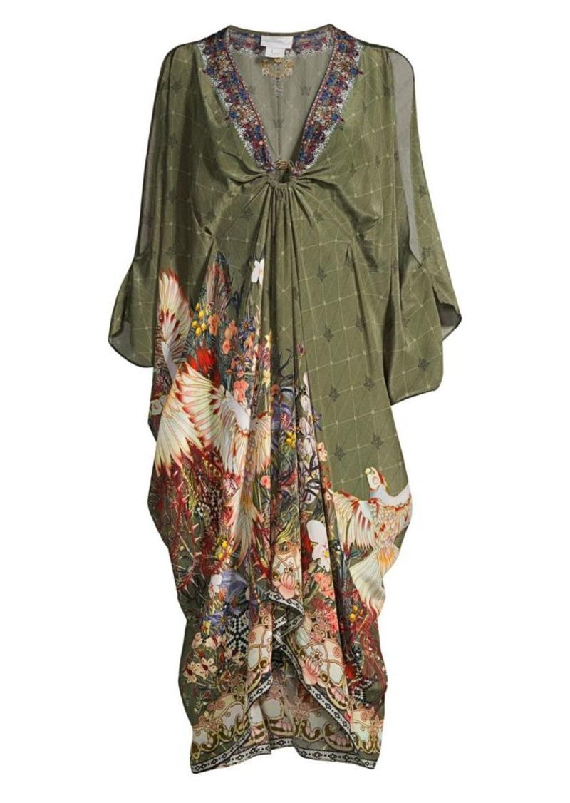 Camilla Mother Silk Split-Sleeve Caftan