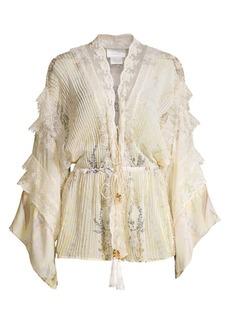 Camilla Mother Tie-Front Lace Tiered Silk Kimono Blouse
