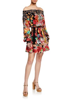 Camilla Off-Shoulder Printed Smocked Short Dress