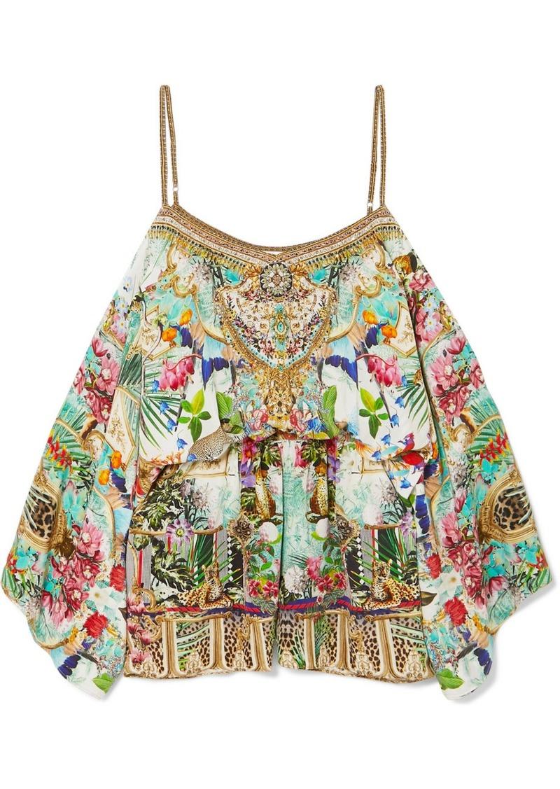 Camilla Off-the-shoulder Embellished Silk Crepe De Chine Playsuit