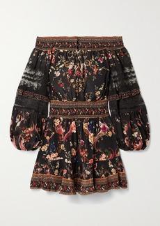Camilla Off-the-shoulder Lace-trimmed Floral-print Silk Crepe De Chine Mini Dress
