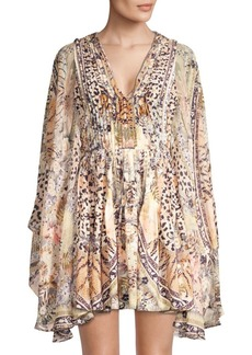 Camilla Printed Pleated Silk A-Line Caftan