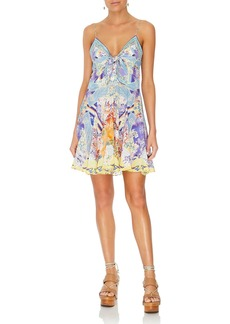 Camilla Printed Tie-Front Silk Pleated Short Dress