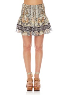 Camilla Shirred Floral-Print Smocked Mini Skirt