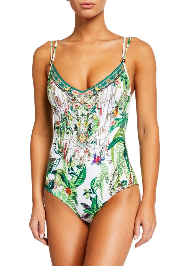 Camilla Tie Back One-Piece Swimsuit with Trim